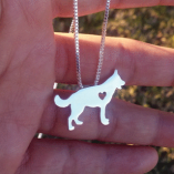 German Shepherd Heart Necklace